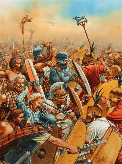 Ilustración que recrea el choque central de la batalla de Cannas: los infantes hispanos y celtas dirigidos por Aníbal y Magón Barca contra los legionarios romanos de Cneo Servilio Gémino