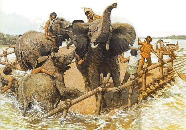 Ilustración que recrea el paso de los elefantes de Aníbal Barca por el río Ródano