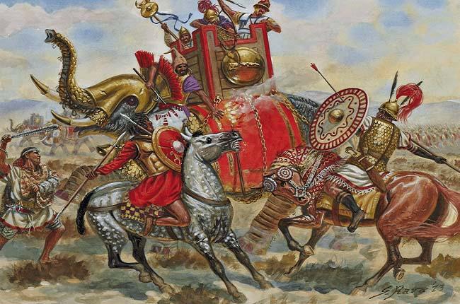 Ilustración que recrea la batalla de Bagradas, en la guerra de los mercenarios