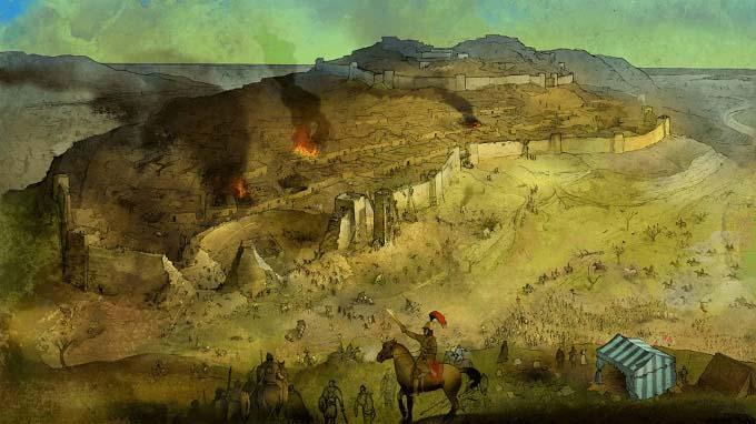 Ilustración que recrea la conquista de Sagunto por parte de Aníbal, causa de la Segunda Guerra Púnica