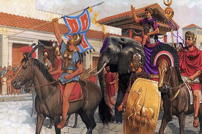 Ilustración que recrea la entrada triunfal de Aníbal Barca en la ciudad de Capua, después de Cannas