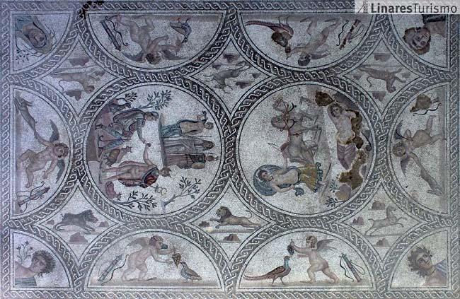 Mosaico de los Amores, descubierto en Cástulo en 2012. El entorn de esta ciudad fue el escenario de la muerte de Publio Cornelio Escipión