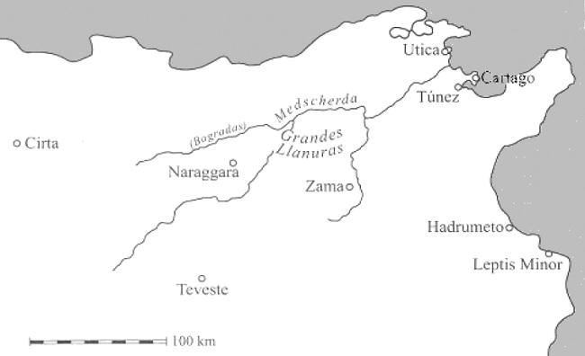 Principales escenarios de la Segunda Guerra Púnica durante la invasión romana de África