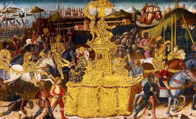 Fragmento de una pintura del artista renacentista Antonio Biagio en el que se imagina cómo fue el paseo triunfal de Escipión el Africano como una de las consecuencias de la Segunda Guerra Púnica