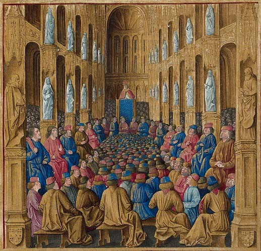 El papa Urbano II en el Concilio de Clermont, que desencadenó la Primera Cruzada en los últimos años de vida del Cid Campeador