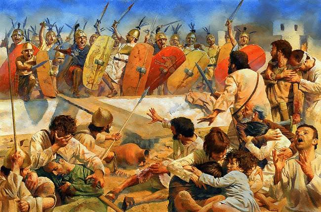 Ilustración que recrea el violento asalto romano de Cartago durante la tercera guerra púnica