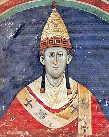 Fresco de una iglesia italiana de principios del siglo XIII que representa al papa Inocencio III, el enemigo de los cátaros