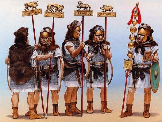 Ilustración que recrea las insignias romanas de combate antes de las reformas de Mario
