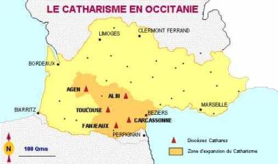 Mapa de la extensión de los cátaros en Francia