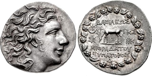 Moneda de plata en la que se representa al rey Mitrídates VI del Ponto