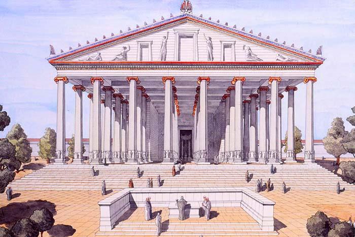 Reconstrucción del templo de Éfeso dedicado a Artemisa, una de las Maravillas de la Antigüedad y escenario de las Vísperas Asiáticas