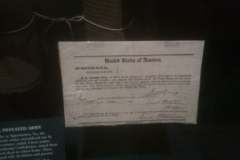 A copy of the loyalty oath former Confederates were forced to sign.