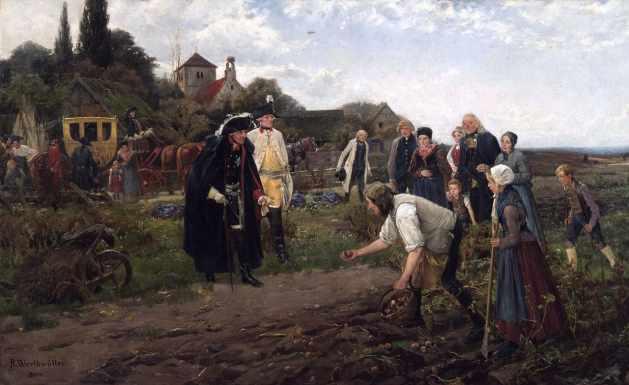 Robert Warthmüller Der König überall, Ölgemälde von 1886. – König Friedrich II. begutachtet den Kartoffelanbau in Preußen.