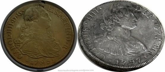Monedas de plata y oro del tesoro de Las Mercedes.