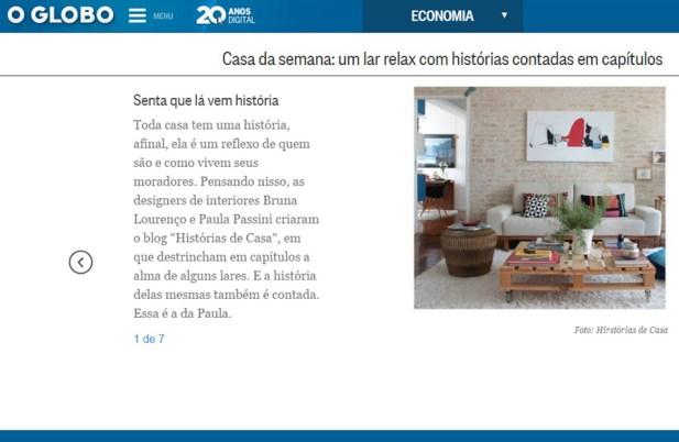 Publicação no site do Jornal O Globo