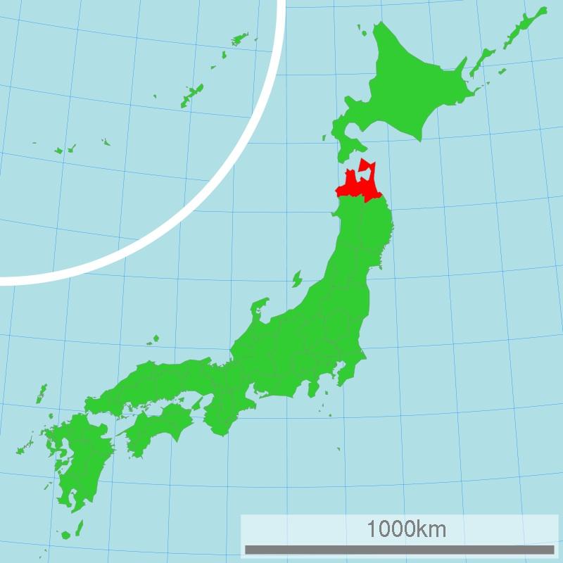 Prefectura de Aomori (en rojo), lugar de la supuesta tumba