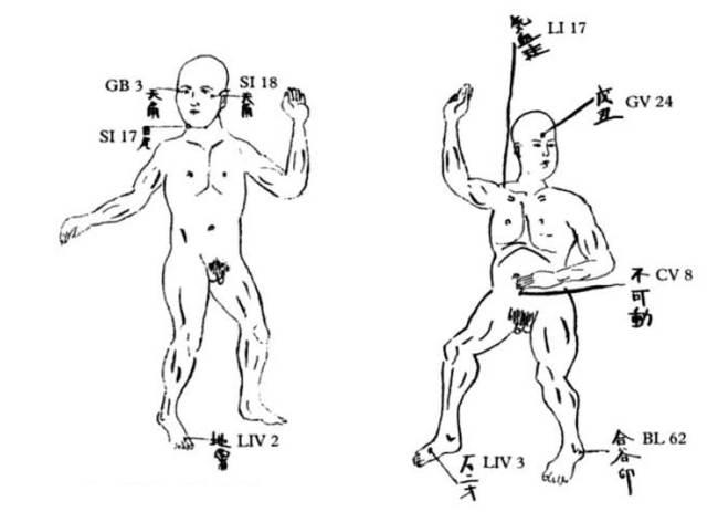 Diagrama con algunos de los puntos vitales del cuerpo humano