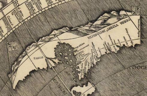 Misma región en el mapa de Waldseemüller.