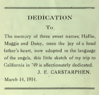 J.E. Carstarphen Book Dedication