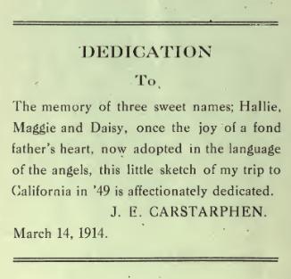 J.E. Carstarphen Book Dedication