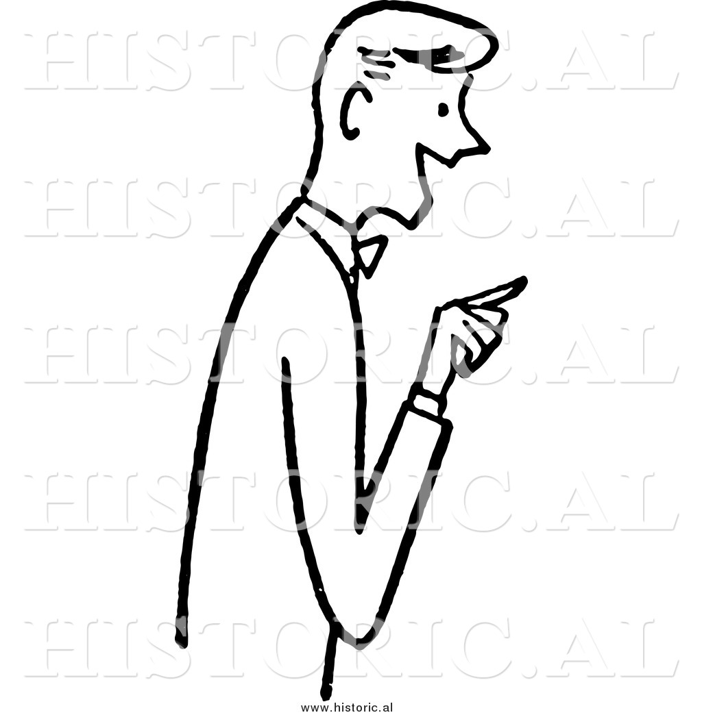 Clipart Of A Friendly Young Man Smiling While Pointing