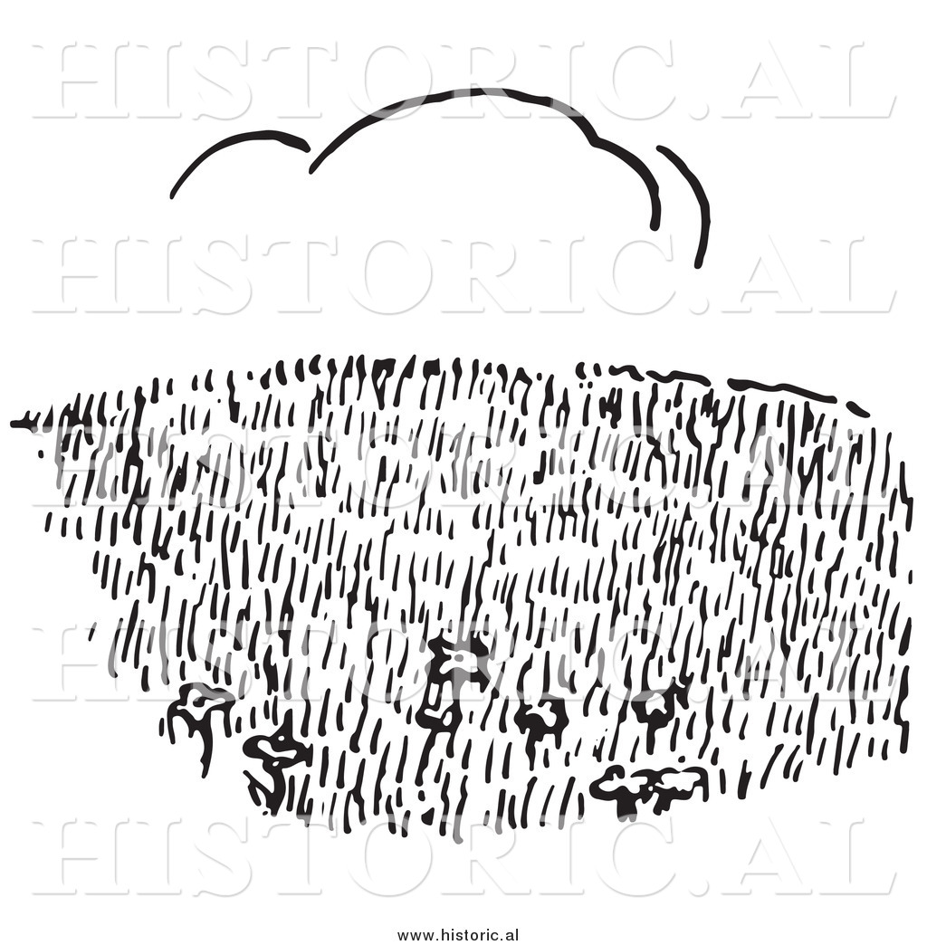 Clipart Of A Grass Hillside Field With Cloud In Background