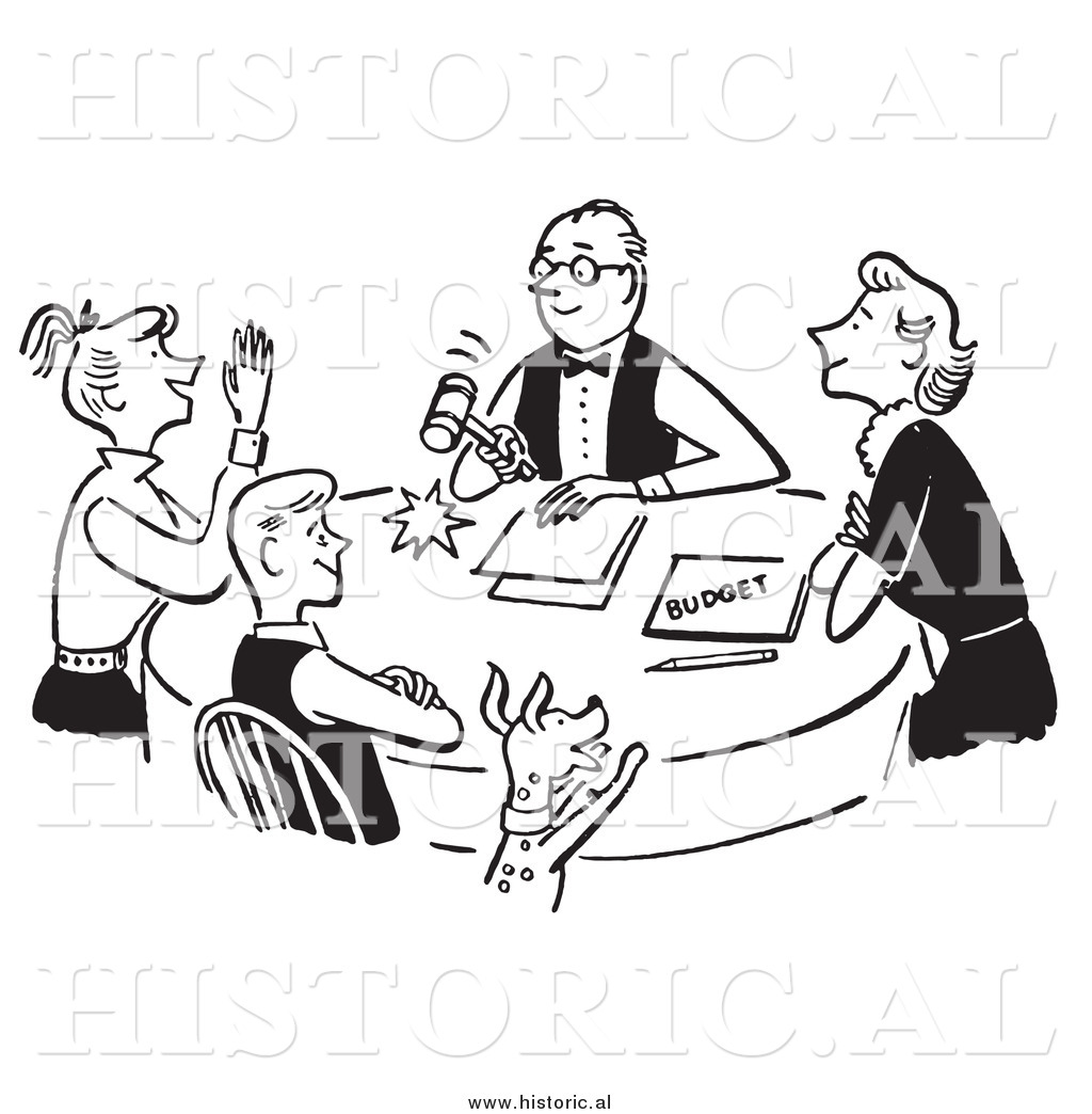 Clipart Of A Happy Family Discussing Budget