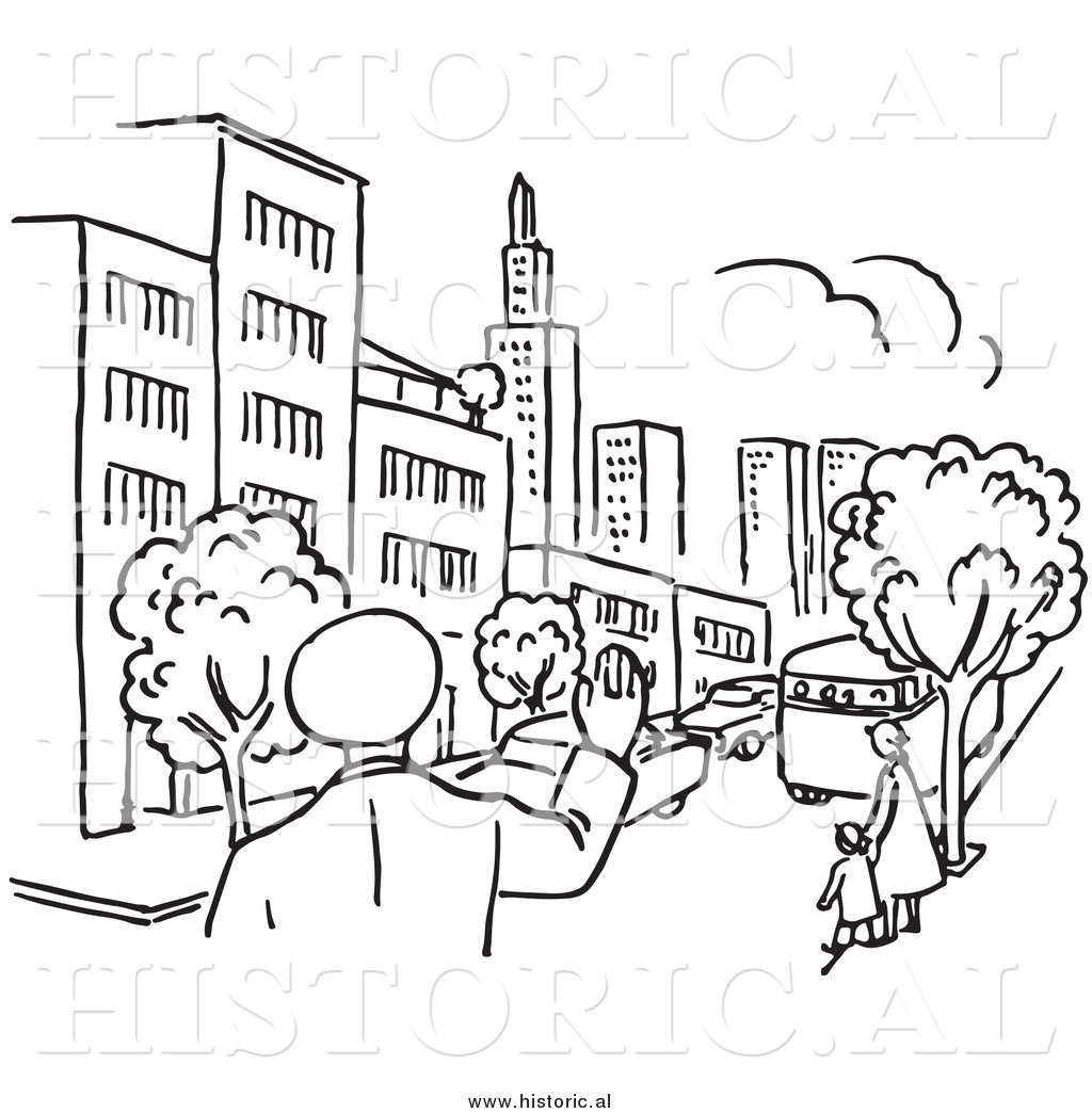 Clipart Of A Police Man Waving At City With Cars And