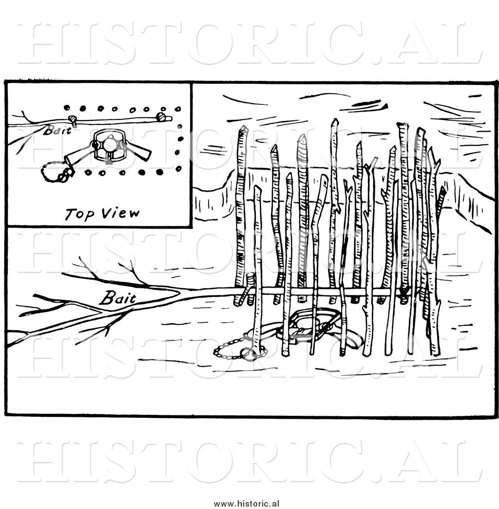 Clipart Of A Set Beaver Trap Under Ice With Multiple Views
