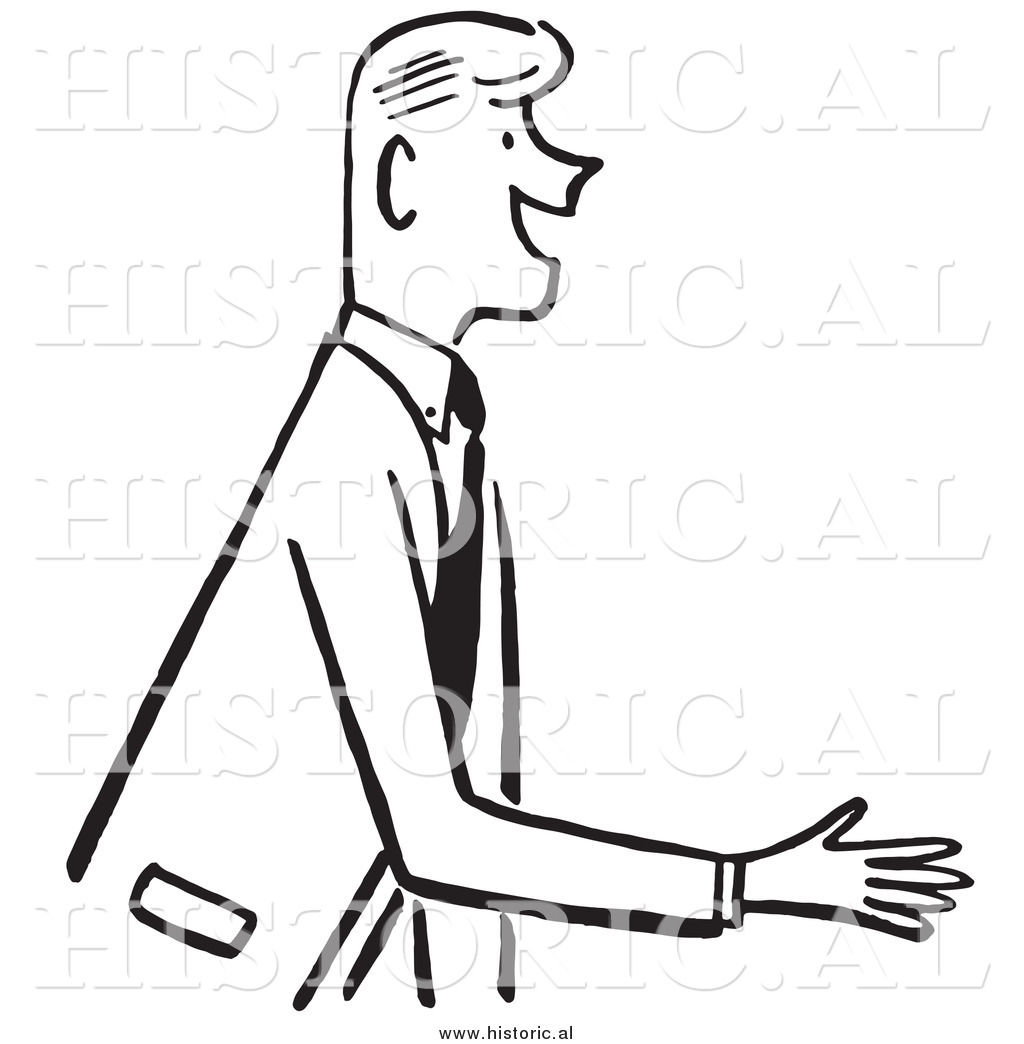 Clipart Of A Smiling Businessman Reaching Out For Handshake