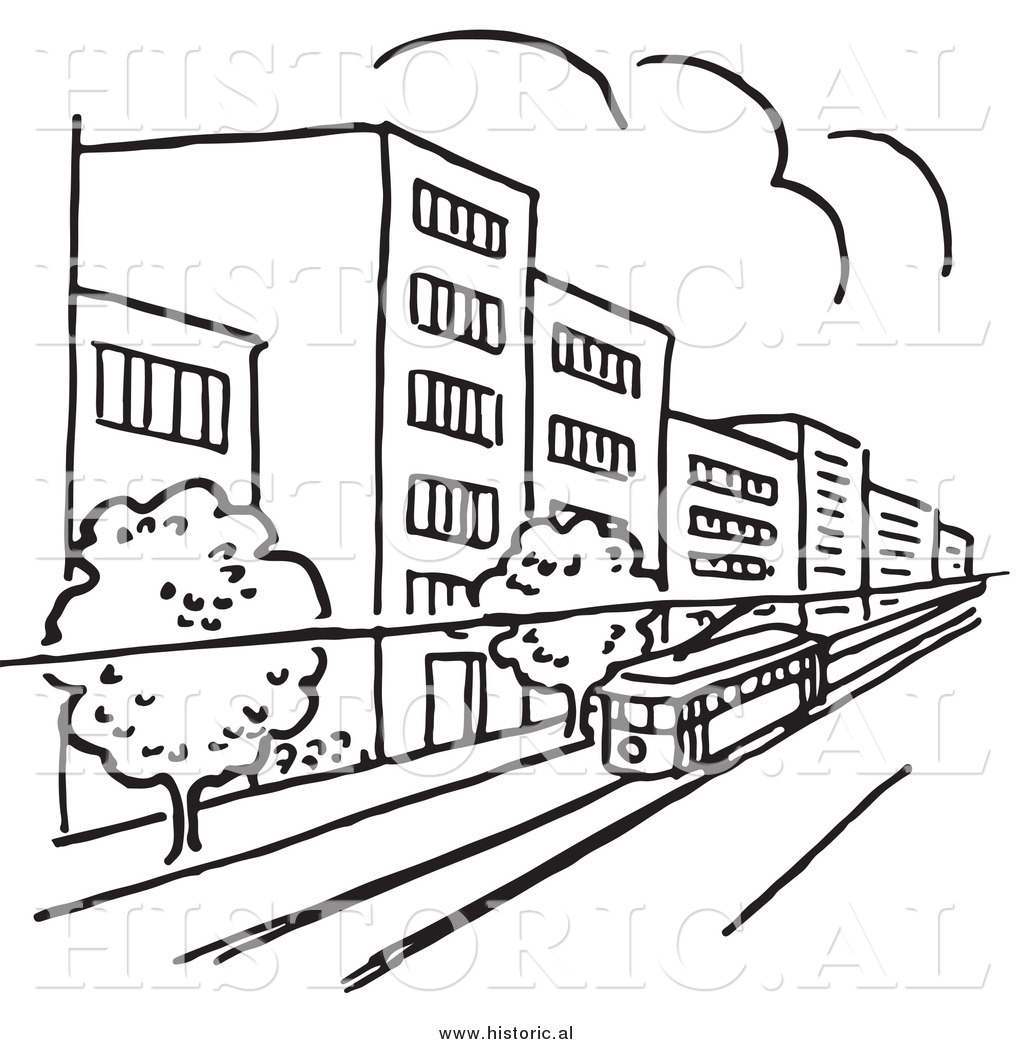 Clipart Of A Tram Traveling Through A City With Buildings