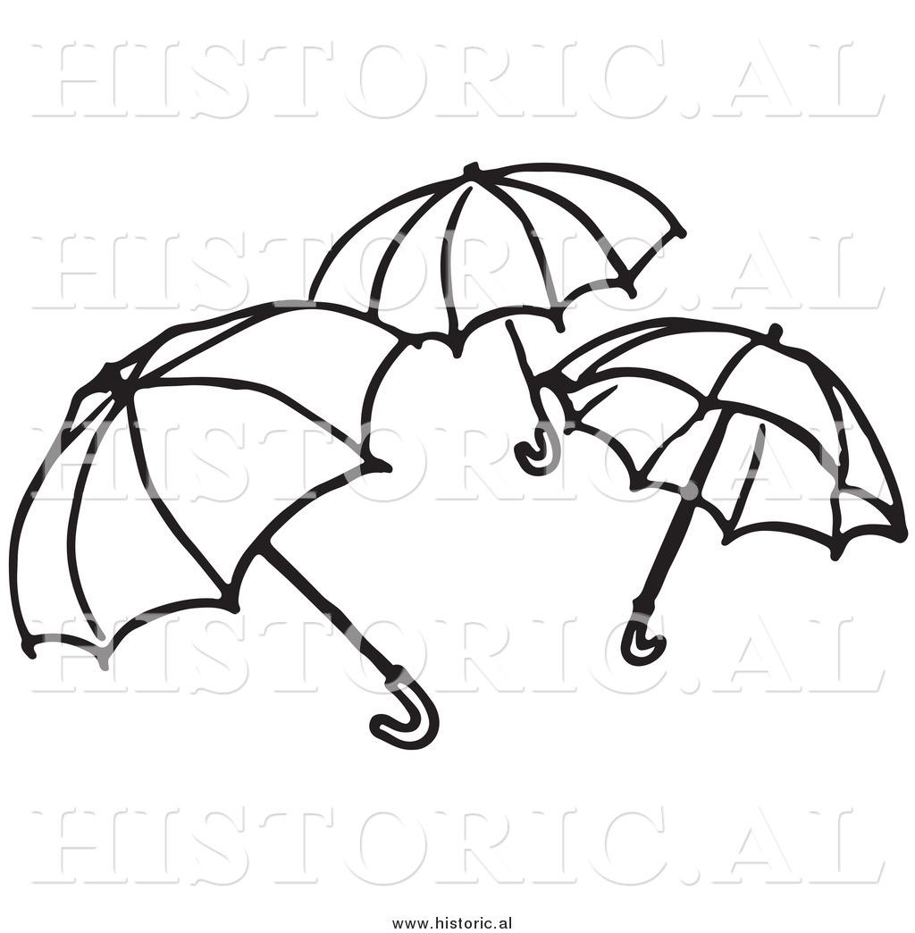 Clipart Of Three Opened Umbrellas