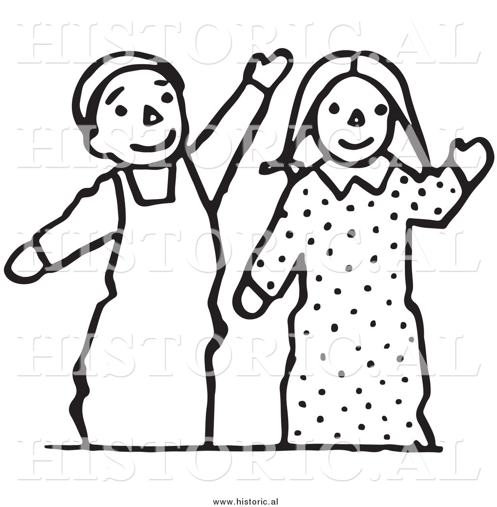 Clipart Of Waving Boy And Girl Puppets