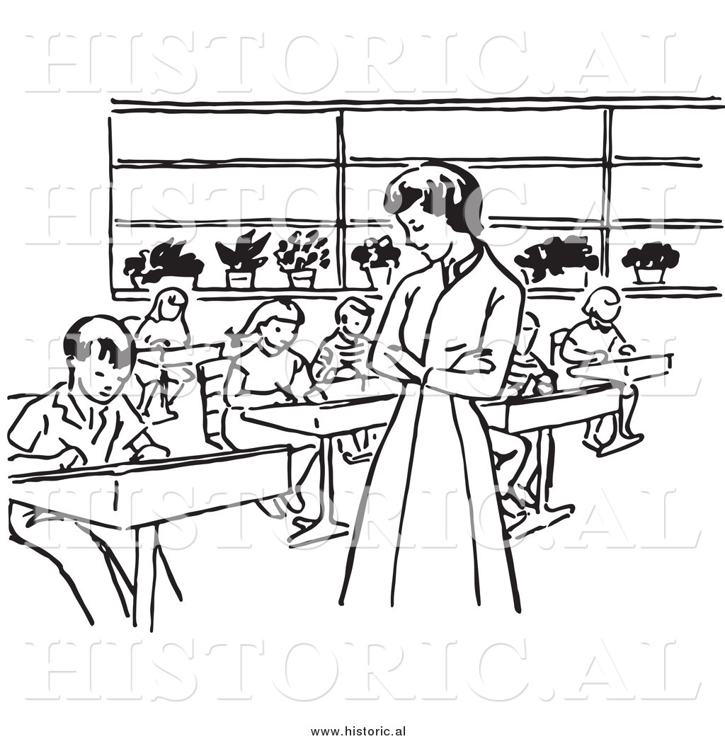Historical Clipart Of A Retro Teacher Watching Students