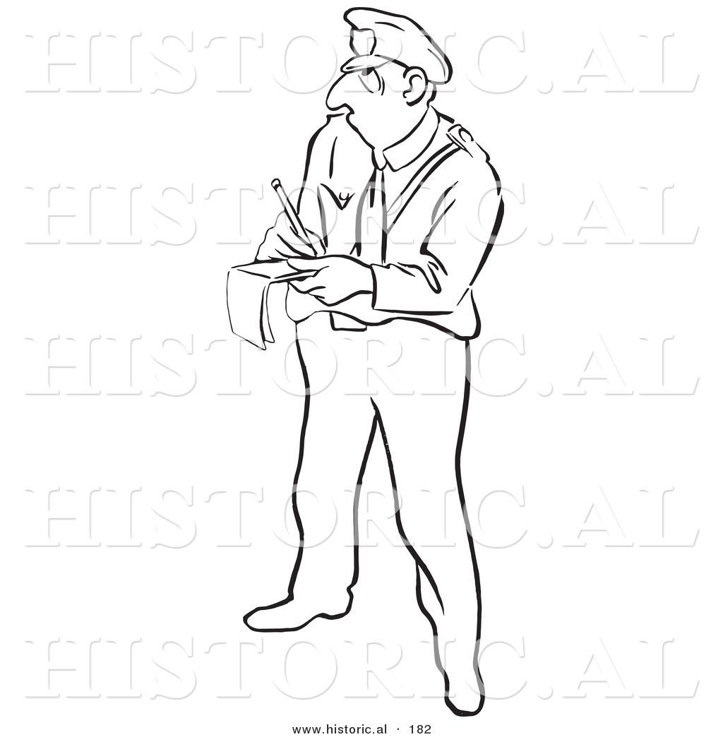 Historical Illustration Of A Cartoon Police Officer