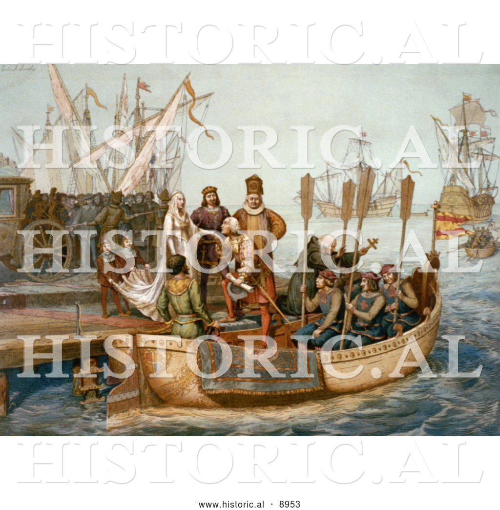 Historical Illustration Of The First Voyage Of Christopher