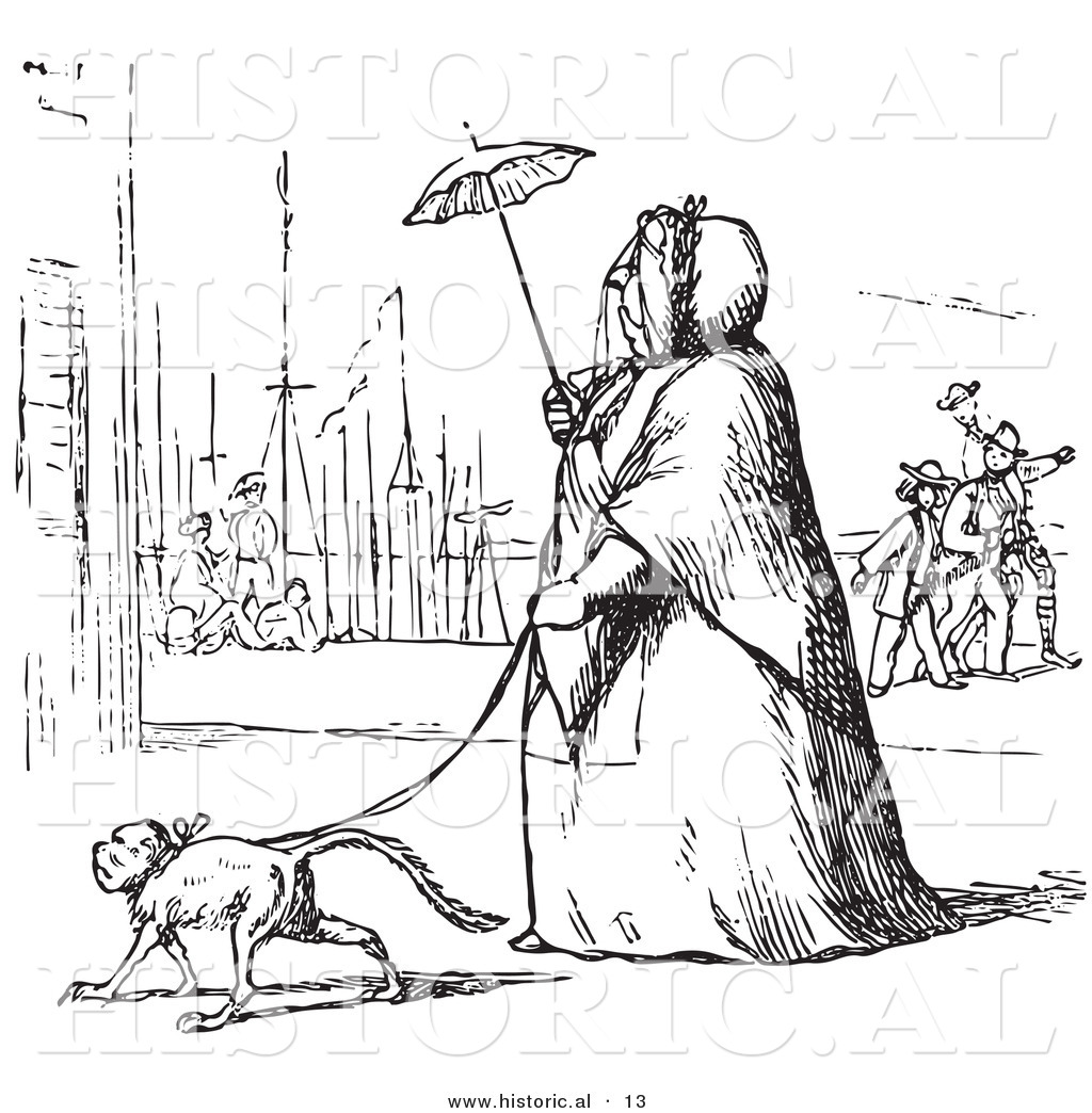 Historical Vector Illustration Of A Obese Lady Walking A