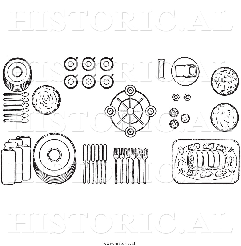Illustration Of A Proper Buffet Dinnerware Table Setting