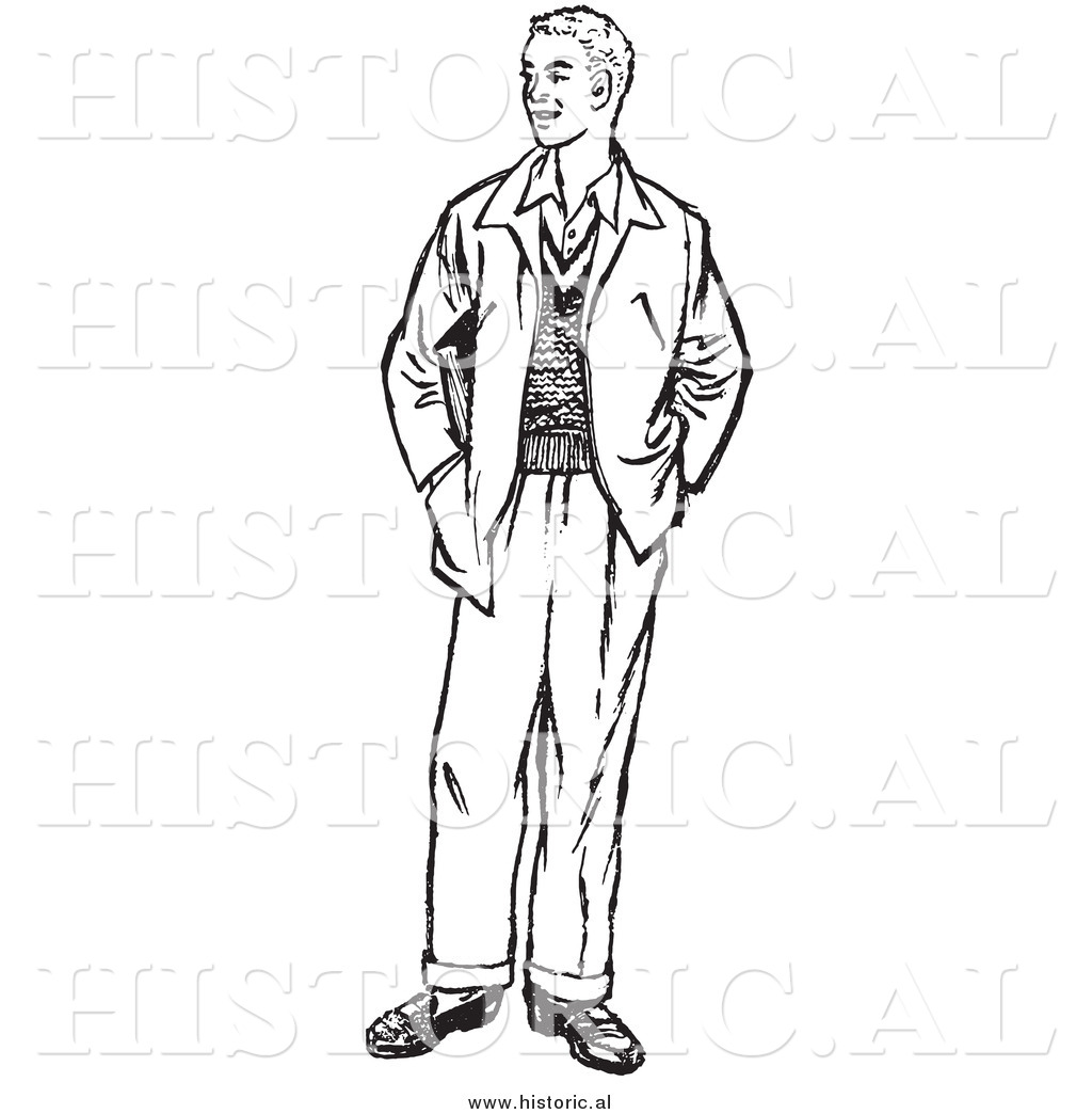 Illustration Of A Young Man Standing With His Hands In