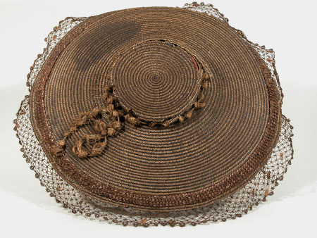 Bergère , 1750-70, split straw dyed hat believed to be of Spanish origin
