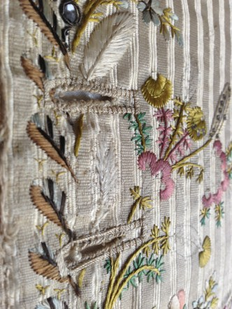 Button hole detail, embroidered Waistcoat, 1775-85