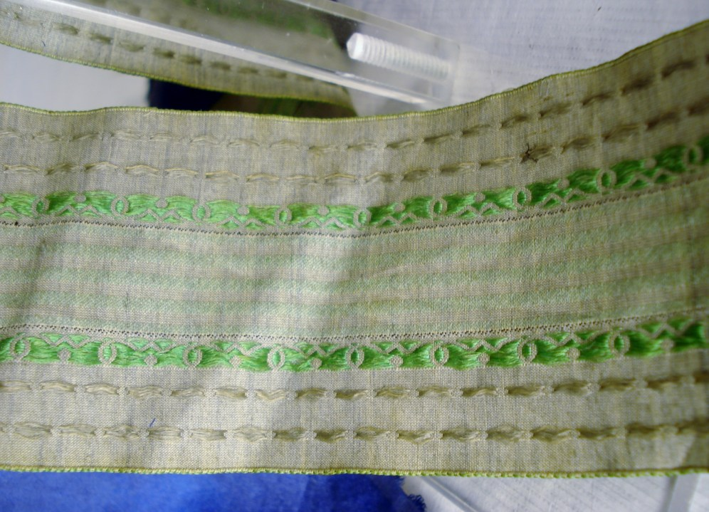 Detail of 1840s ribbon, Snowshill collection