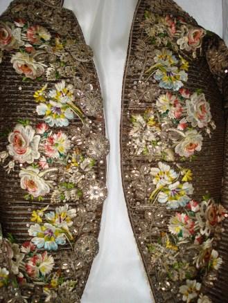 Emboidered Detail of corded velvet, Court Coat, 1770-80, Wearing the Garden exhibition at Berrington Hall, 2014