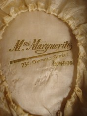 Stamped Interior silk, 1940s, scalloped edge bonnet