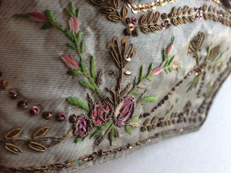 Pocket detail, Silver lamè silk waistcoat, 1775-80, Wearing the Garden exhibition at Berrington Hall, 2014