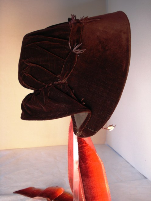 Profile of 1840s bonnet, purple brown silk, Snowshill Collection