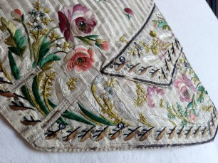 Pocket detail, Embroidered waistcoat, 1775-85