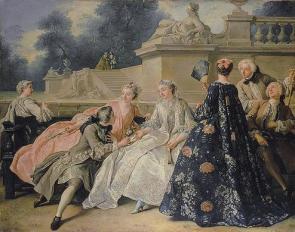 Side hoops in The declaration by J.F. De Troy, 1731