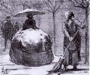 A snowy crinoline, 19th century satire.