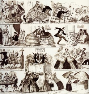 The advantages and disadvantages of the crinoline, 19th century satire.